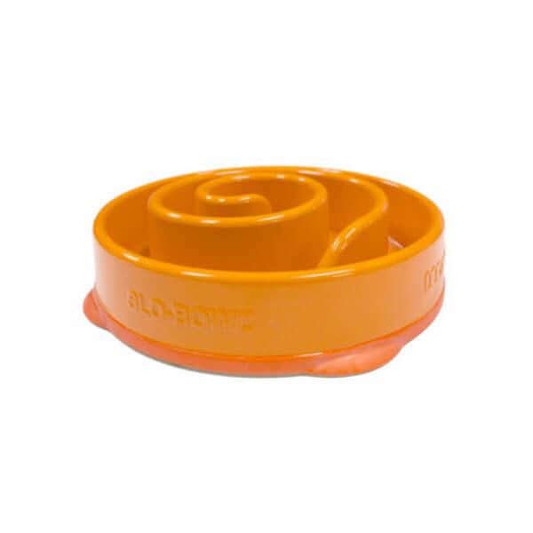 Misky pre psov_Miska Mini oranzova spirala zboku