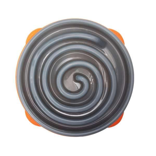 Misky pre psov_Miska Sivo oranzova spirala